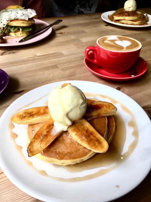 Caramelised Banana Pancake With Vanilla Ice Cream.