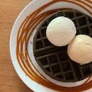 Charcoal Waffles with Double Scoop Ice cream