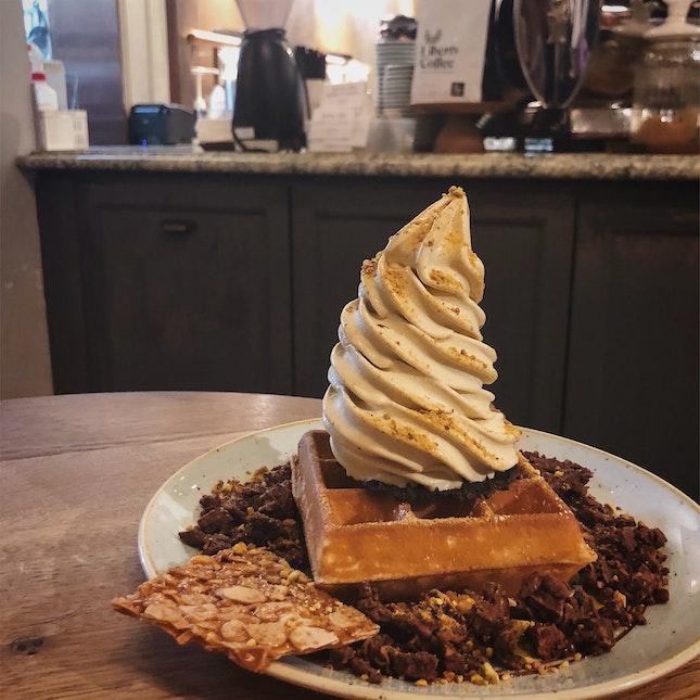 belgian waffles with roasted pistachio ice cream & almond thins, roasted pistachio & sea salt chocolate honeycomb