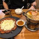 Cheese Kimchi Pancake and Army Stew