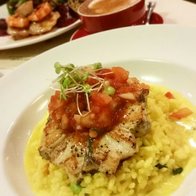 Pan Fried Seabass Risotto