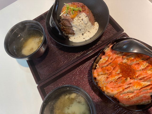 Wagyu Beef and Salmon Mentaiko don
