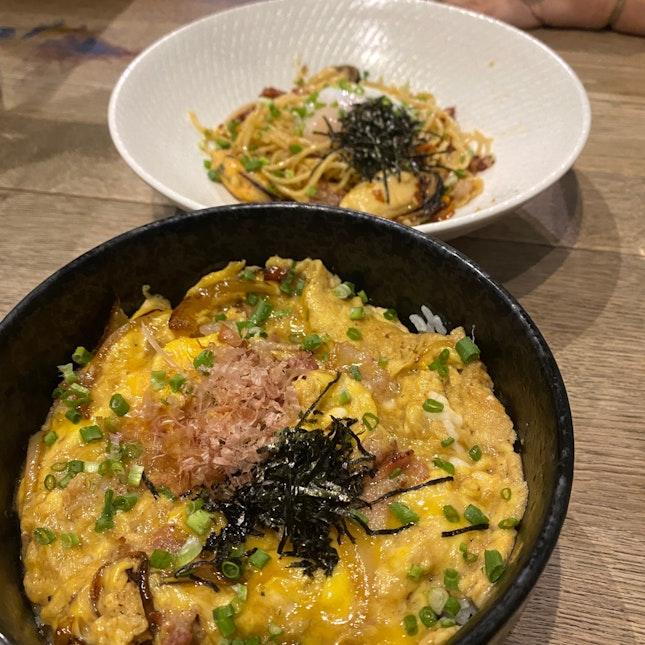 pork bowl & seafood aglio olio