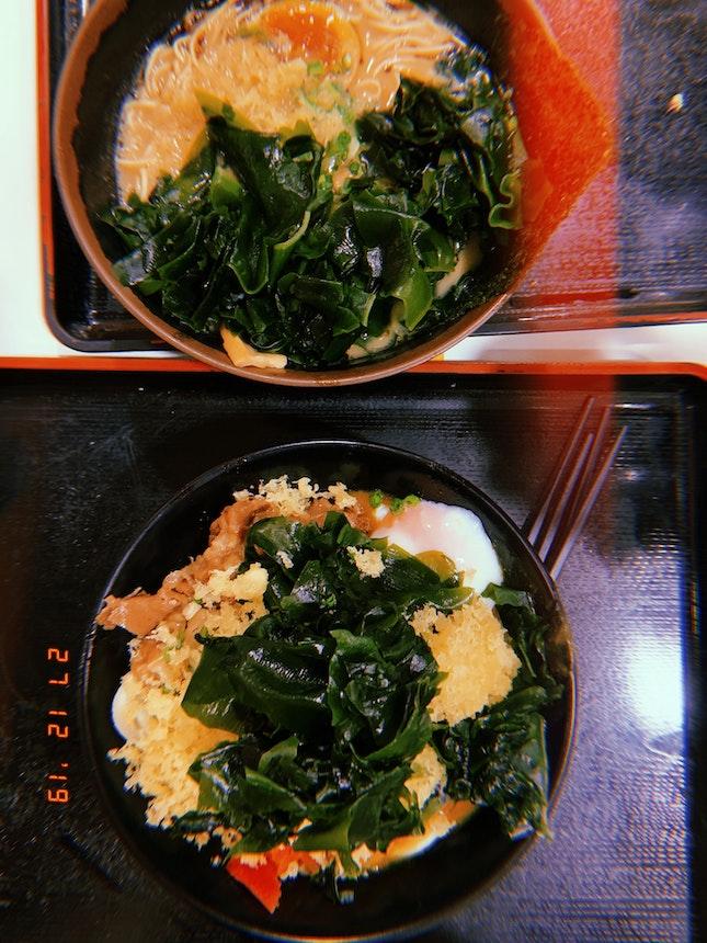 Black Garlic Tonkotsu Ramen & Beef Onsen Egg Curry Udon