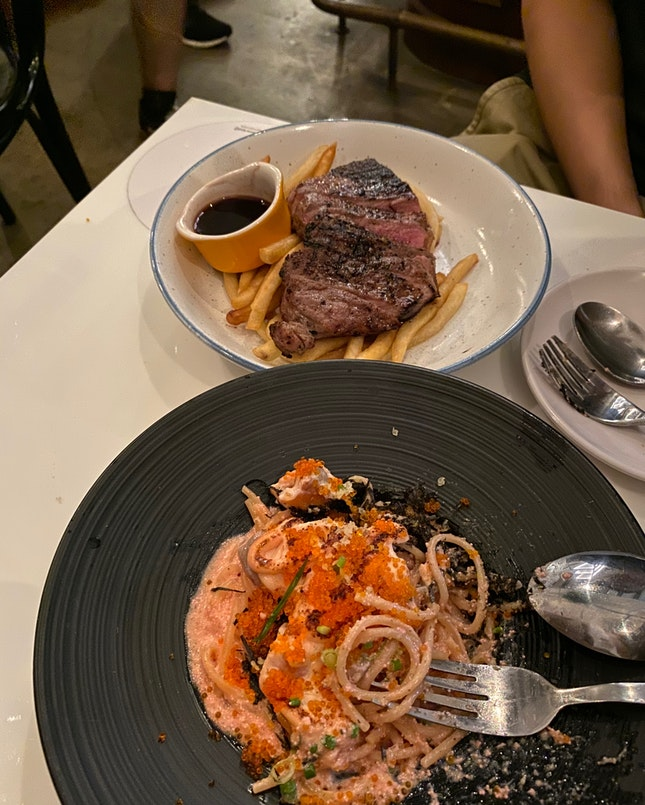Mentaiko Salmon Pasta And Steak