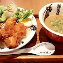 Dry ramen w thick, savoury creamy sauce and crispy fried chicky cutlet!