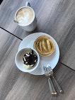Desserts With Coffee & Apple Tart & Ice Cream