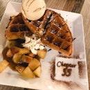 Waffle and gelato