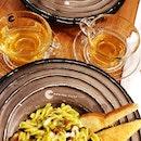 Pesto Pasta With Sundried Tomatoes($16), Truffle Mushroom Risotto($16)