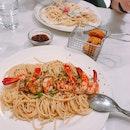 Yummy prawn aglio olio