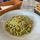 Prawn Basil Pesto Pasta ($24)