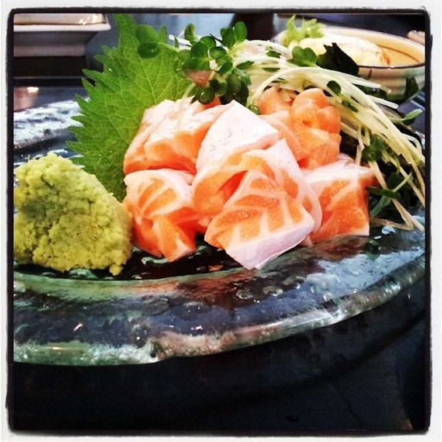 Salmon belly for lunch #japanese #love #foodie #foodgasm #foodporn #afoodiesaffair #galthatlovesfood #lunch #hanazen
