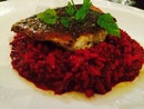 Sea bass With Beetroot Risotto