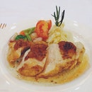 Pan seared Chicky Breast with Garlic Mash, Sauté Veges and tea infused Capers Cream Sauce.