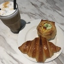 Chicken And Cheese ($4.20), Croissant ($3.20), Iced Latte ($6)