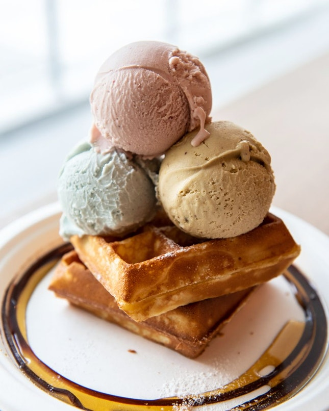 Ice-cream with waffles [$18+]