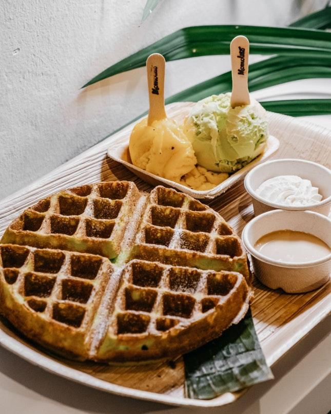 Pandan Waffle + Double Scoop [$6.90+$8]
