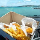 Fish and chips by the water, enjoyed in the warm comforts of the car as it was too windy outside.