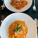 Crabmeat pasta and pork cheek