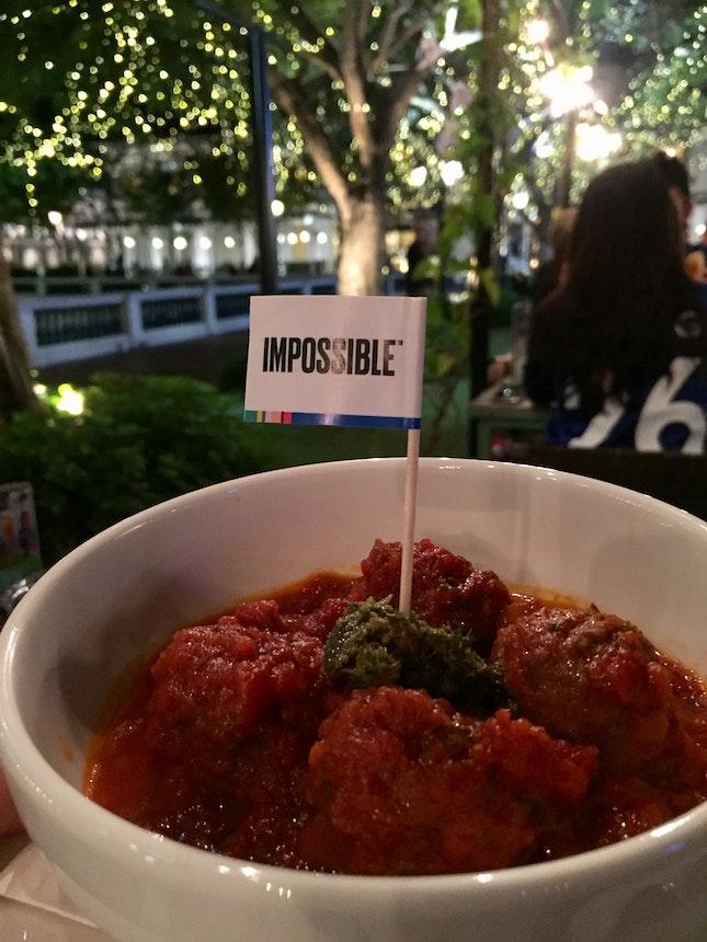 impossible meatballs in marinara sauce