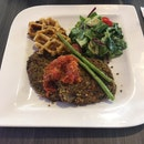 Black Bean Patties served with home-made Tomato & Chilli Jam, green beans, potato waffles and a side-salad