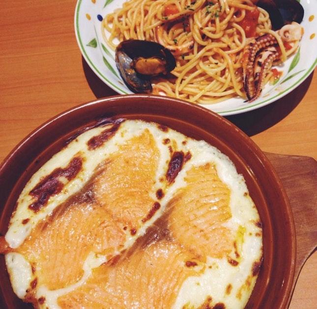 Salmon Doria and Spaghetti