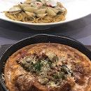 Chorizo and Mushroom Dutch Pancake & Seafood Clam Linguini