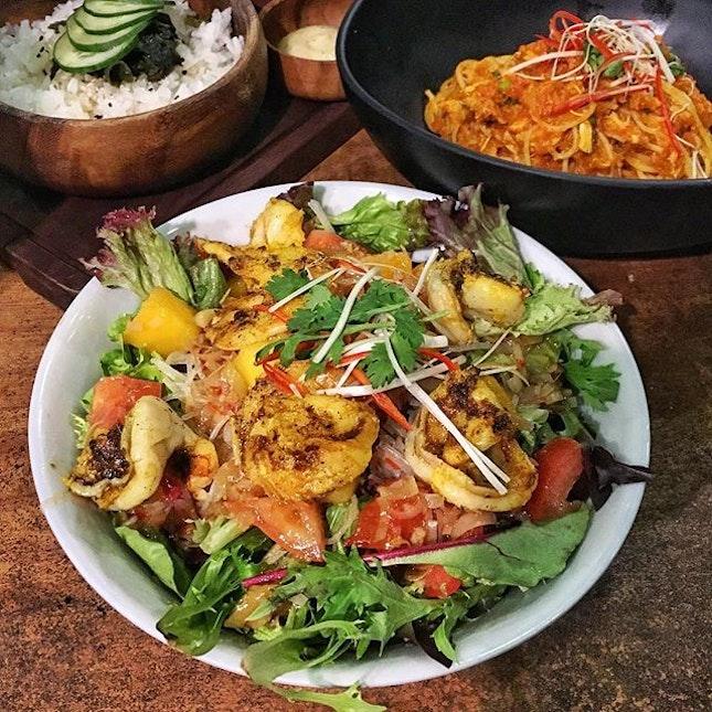 Lemongrass & Ginger tiger prawn salad.