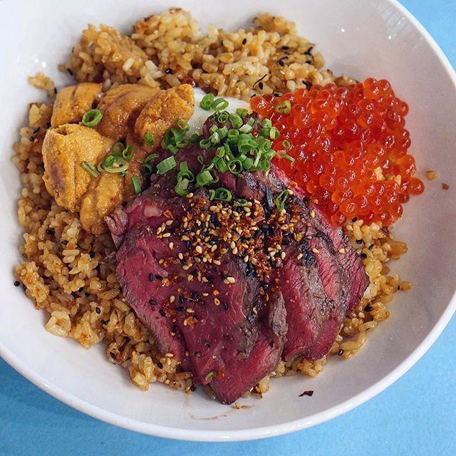 Black Angus Beef Tenderloin with uni, ikura, onsen egg and Koshihikari rice at $22.