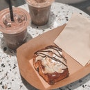 Super Delicious Chocolate Croissant And Great Iced Mocha