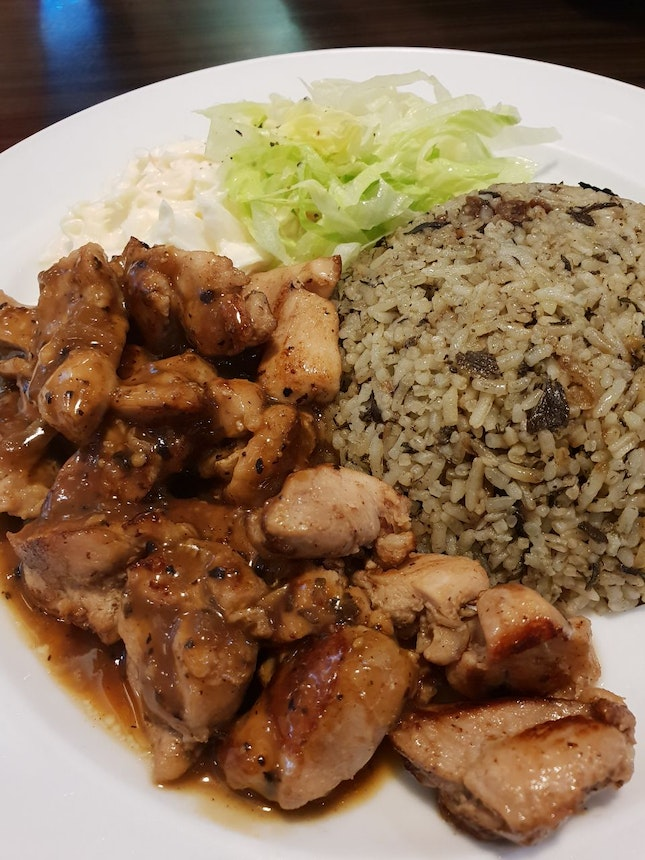 Olive Rice with Black Pepper Chicken