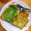 Toast with coconut custard and condensed milk.