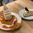 Earl grey lavender waffle ($12), Oreo cheesecake ($8)
