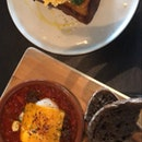 impossible meat with shakshuka eggs