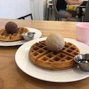Waffles + Chocolate & Earl Grey ice cream