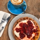 Buttermilk Waffles with Strawberry Maceration ($12.90) and Magic ($5.50)