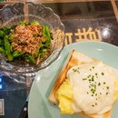 Scrambled Eggs and Cheese on Toast ($8.70) + Kailan ($3)