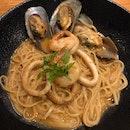 Seafood Cream Pasta (Burpple 1 For 1)