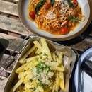 Pulled Pork Ragu $19++, Truffle Fries $9++