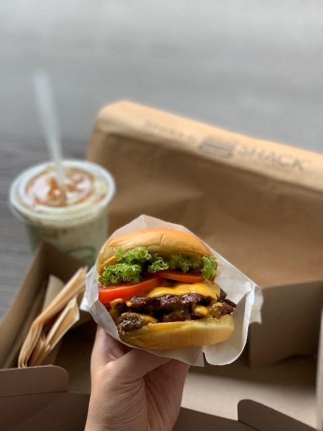 double shackburger with pandan shake