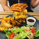 Salted egg chicken and waffles