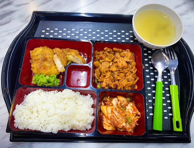 Korea Stall , Teriyaki Chicken + Spicy Chicken Bento
