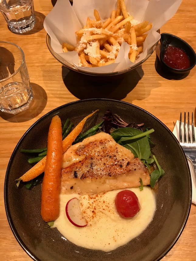 Miso Salmon ($21) + truffle Fries ($10)