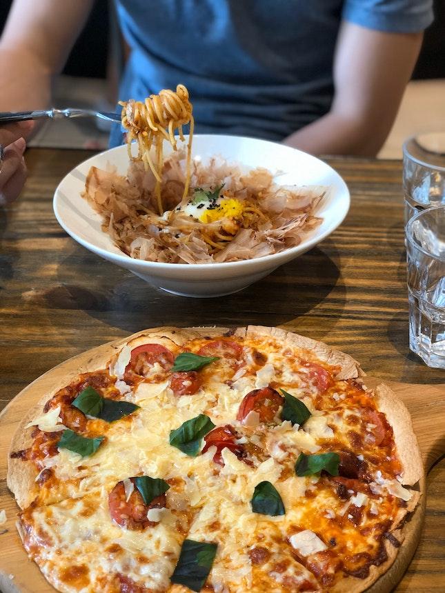 Margarita Pizza ($20) & Umami Pasta ($21)