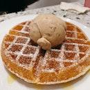 Waffles ($5.80) with Cinnamon Brown Bread Ice Cream ($4.70)