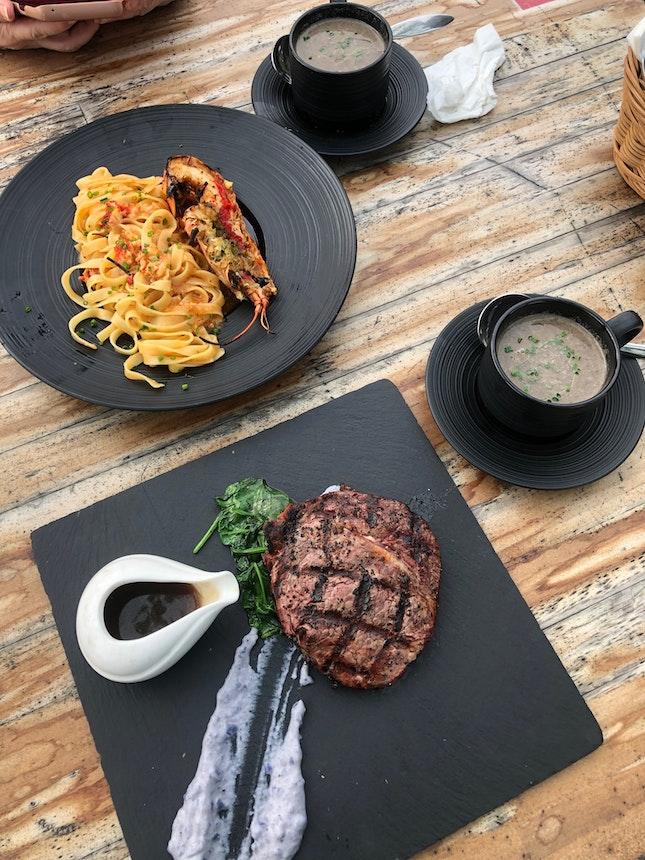 Ribeye Steak | Chili Lobster Tagliatelle | Mushroom Soup