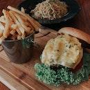 Zesty Crab pasta + Burger