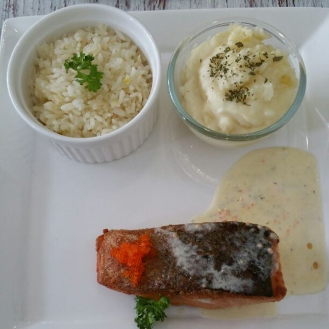Grilled Salmon With Butter Rice & Mashed Potato ($19)