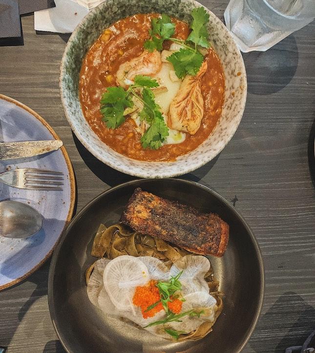 Chilli Crab Risotto and Seabass Pasta With Nori Cream