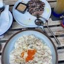 Miso Carbonara & Steak